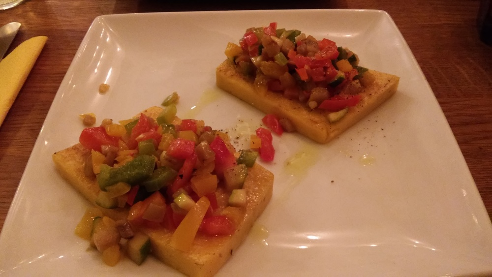 Grilled polenta bruschetta with grilled vegetables ratatouille