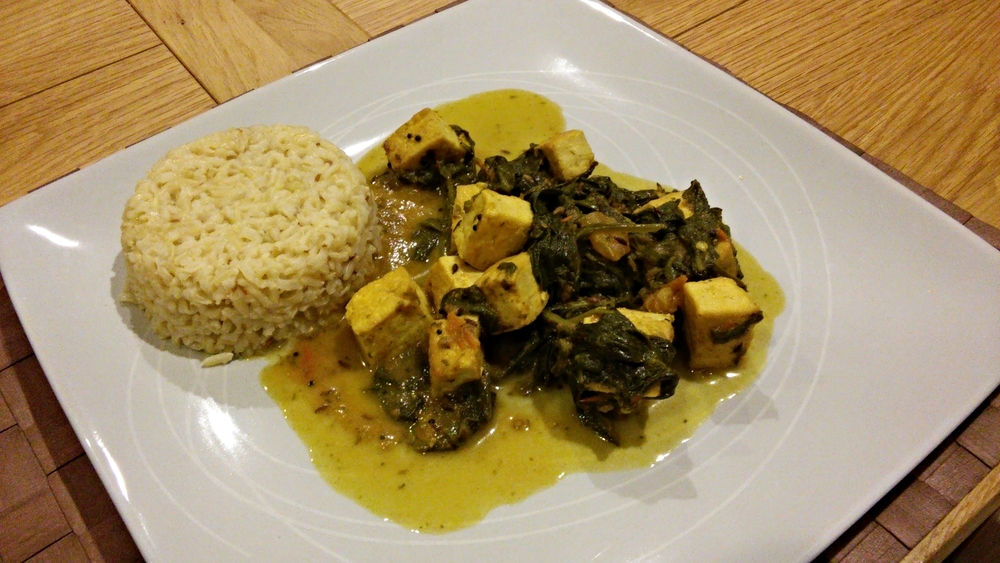 Link to recipe for mock Palak Paneer with Jeera rice