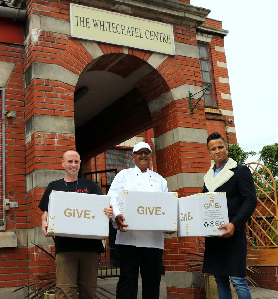 From left to right: Head Chef Omie Nadoo, employee at Whitechapel (homeless) Centre in Liverpool. Co-Founder Dario Curcillo