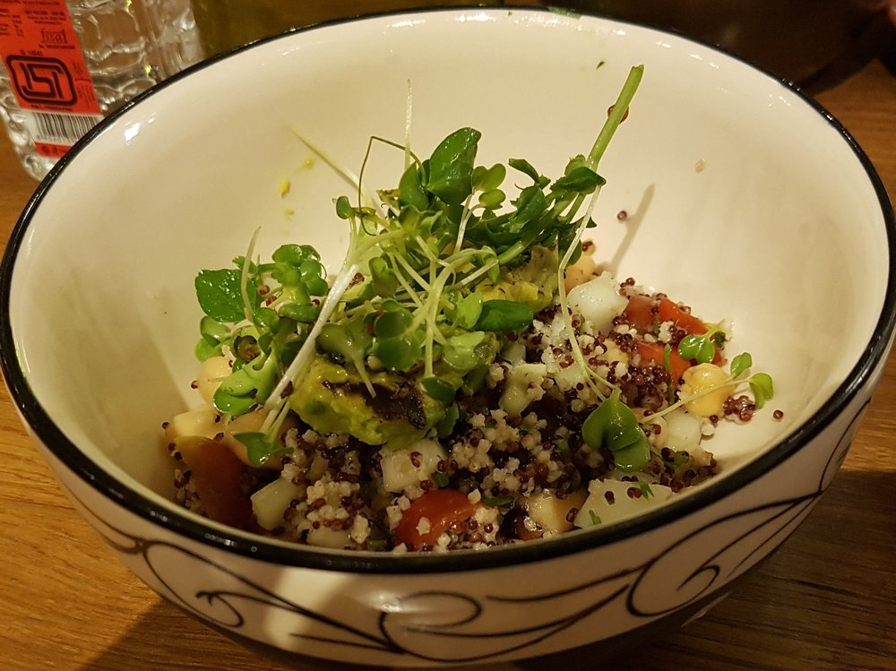 Lemony finger millet, chick peas and avocado
