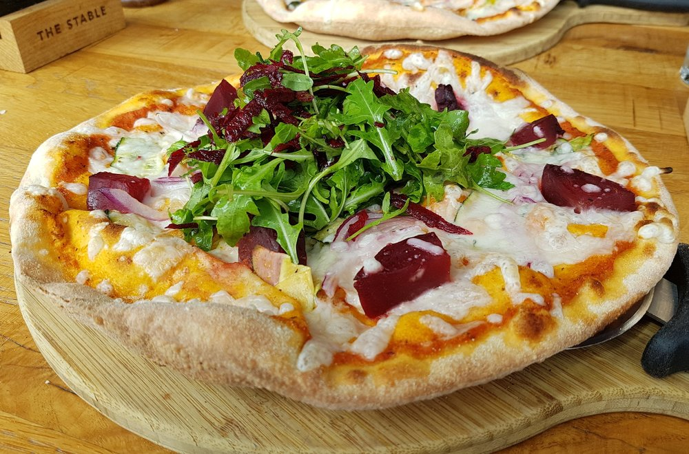 Heart Skipped A Beet | roasted beetroot, courgette, red onion and vegan cheese, finished with rocket and garlic & herb oil