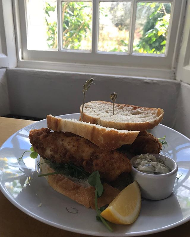"Technically from the ""Hungry Bear"" menu! #fishfingersandwich #blindeye #sustainablehake 🧡"