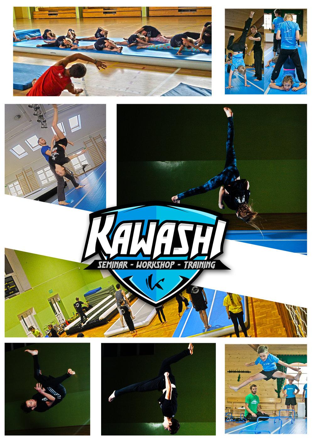 """ekipa Kawashi - TRICKINGKawashispecjalizującą się w propagowaniu tzw. Extremalnych Sztuk Walki, nowe sporty do których zaliczamy min. Martial Arts Tricking oraz Sportowe Karate/Kickboxing (konkurencje bezkontaktowe tj. Formy Przy Muzyce) . Podczas obozu instruktorzy Kawashi poprowadzą warsztaty z TRICKINGU.TRICKING jest młodym, niesformalizowanym sportem powstałym na bazie sztuk walk oraz akrobatyki/gimnastyki, lecz wyraża się w wykonywaniu przez ćwiczących (trickerów) kopnięć, salt, śrub oraz innych tricków w """"luźnych"""" i spontanicznych połączeniach. Zadaniem trickera jest wykonywa- nie pojedynczych tricków lub ich połączeń, tzw. kombinacji tricków w sposób kreatywny i widowiskowy. To czyni z tego sportu ekstremalną, nie- przewidywalną i ciągle rozwijającą się dyscyplinę. Tworzą ją i rozwijają sami ćwiczący co powoduje, iż nie da się jej sformalizować i ująć w pewne ramy. W sporcie tym nie ma ograniczeń i każdy tricker poprzez kombinacje i sposób wykonywania danych elementów tworzy swój własny, indywidualny styl """"trickowania"""".Tricking coraz częściej znajduje zastosowanie m.in. w tańcu. Widowiskowe elementy podwyższają poziom układów czy spektakli i w do- datku wnoszą coś świeżego i nietypowego. www.kaswashi.pl"""
