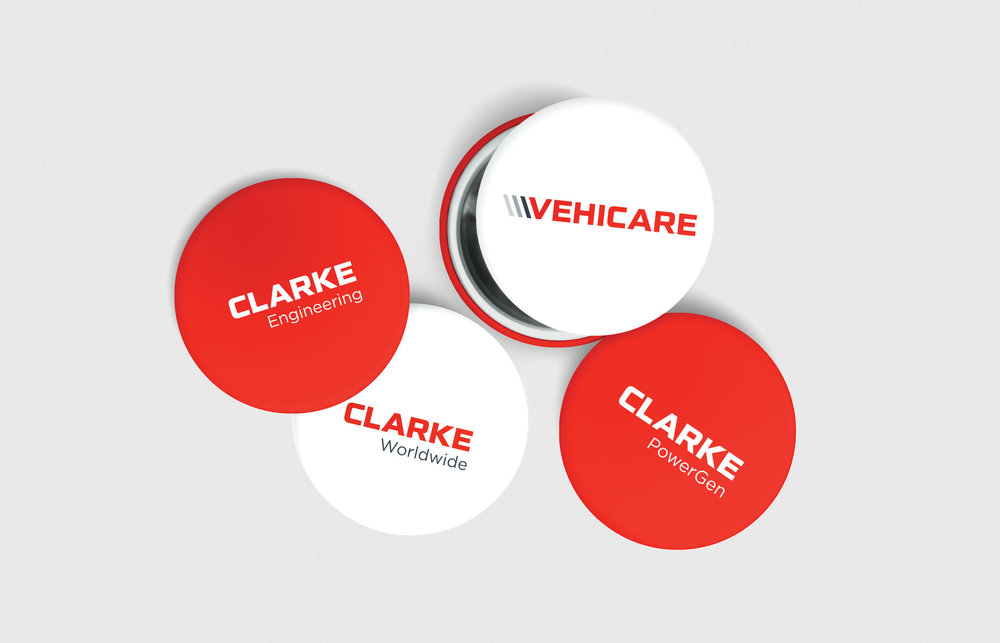 Clarke Worldwide buttons and pins