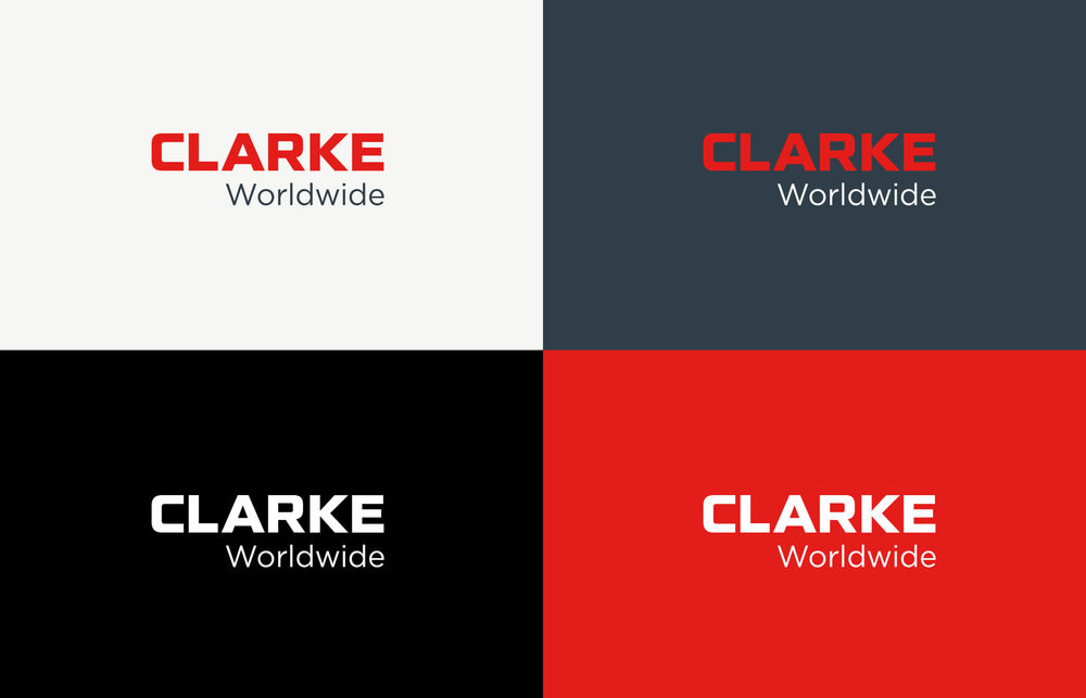 Clarke Worldwide Logotype color variations