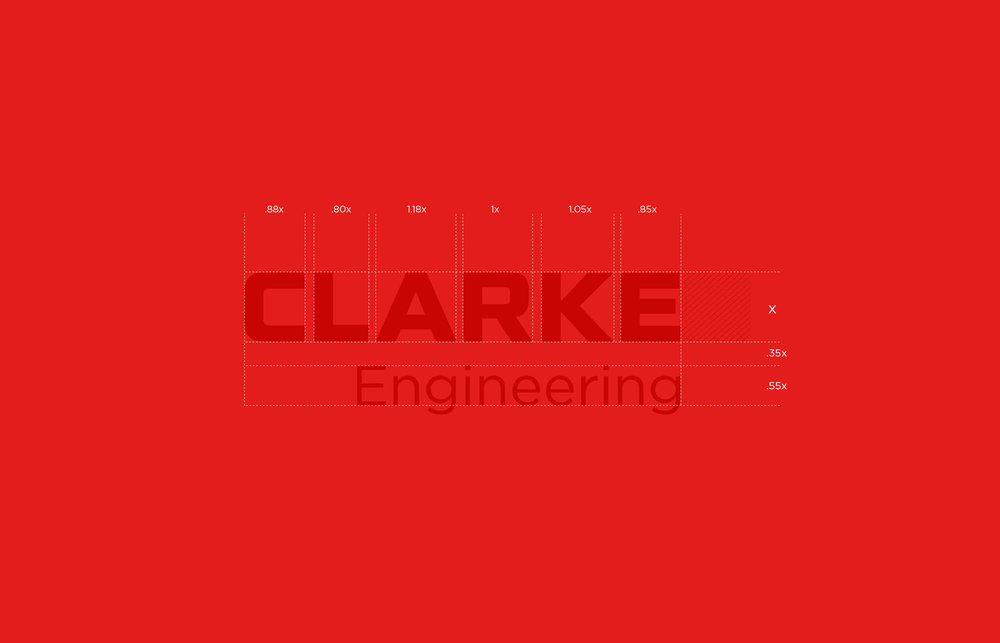 Clarke Worldwide logotype construction