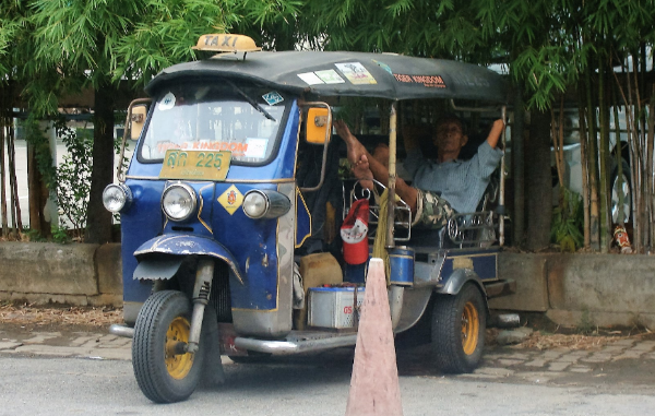 Here's a taxi in Thailand- Not quite the yellow taxi you see cruising around New York