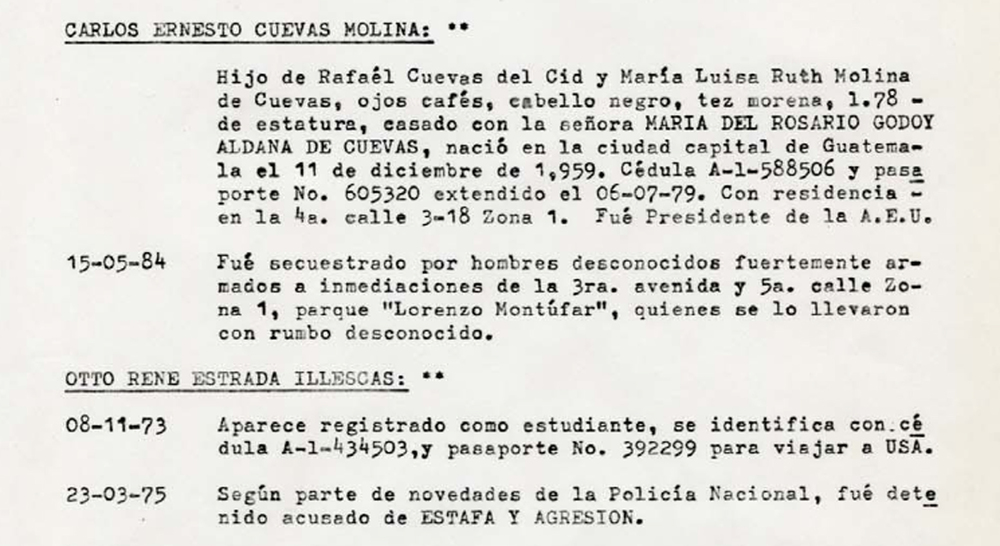 "Extracto del ' libro de registro , "" Guatemala militar de inteligencia El Diario Militar , que detalla un resumen de su información de inteligencia sobre Carlos Ernesto Cuevas , hermano del director de la película Ana Lucía Cuevas.  Extract from the Guatemalan military intelligence 'logbook,' The Military Diary, detailing a summary of its intelligence on Carlos Ernesto Cuevas, the brother of the film's director Ana Lucía Cuevas."