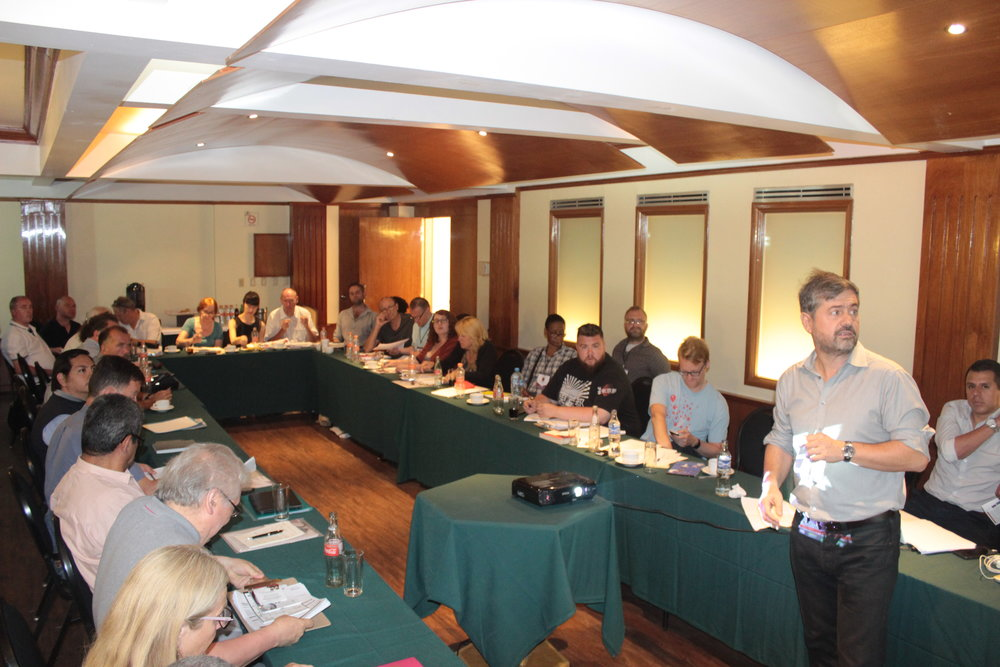 British International Observer delegates receiving training from Francisco Cobos (RUCD), where he outlined major examples of election fraud in past elections. The Ritz Hotel, Mexico City