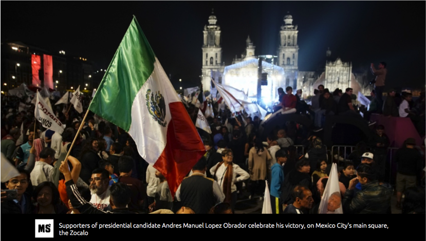 'Finally, Mexico has a chance. Mexico starts a new historical period'    Article in the Morning Star Online Sunday July 8, 2018   by Ben Cowles, journalist, Brigada 07 of the UK delegation of International Observers