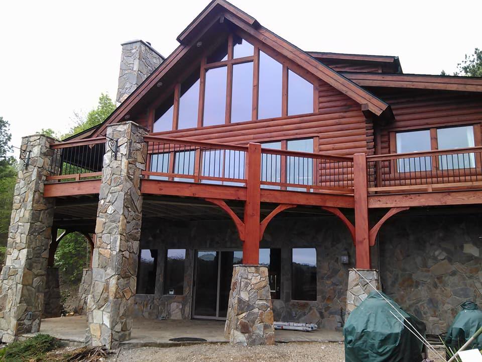 Custom Deck Remodel - Douglass Fir Timbers - Stone columns