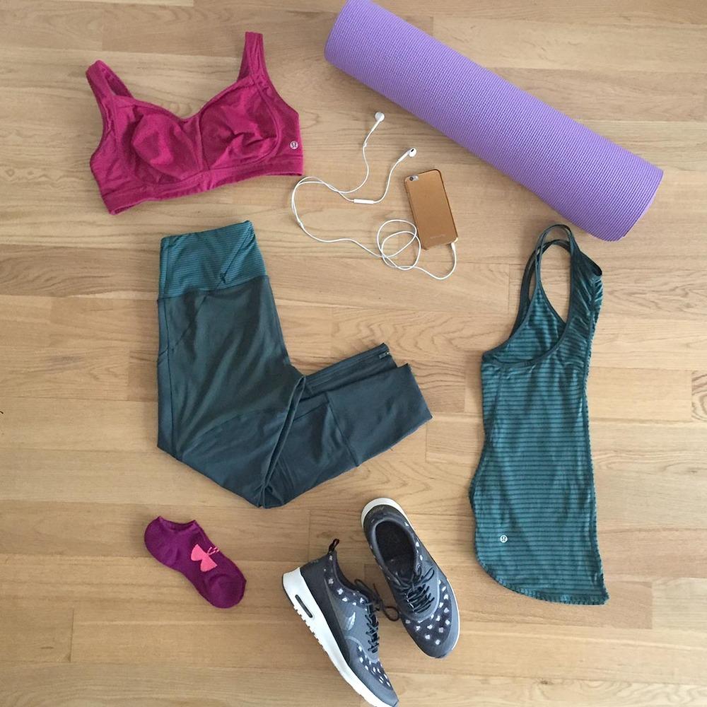 PANTS  - Lululemon Pants  YOGA MAT  - Gaiam Yoga Mat  TANK  - Lululemon Tank   PHONE  - iPhone w/ Nike +Running App   SHOES  - Nike Air Max Thea  SOCKS  - Under Armour Socks   SPORTS BRA  - Lululemon Sports Bra