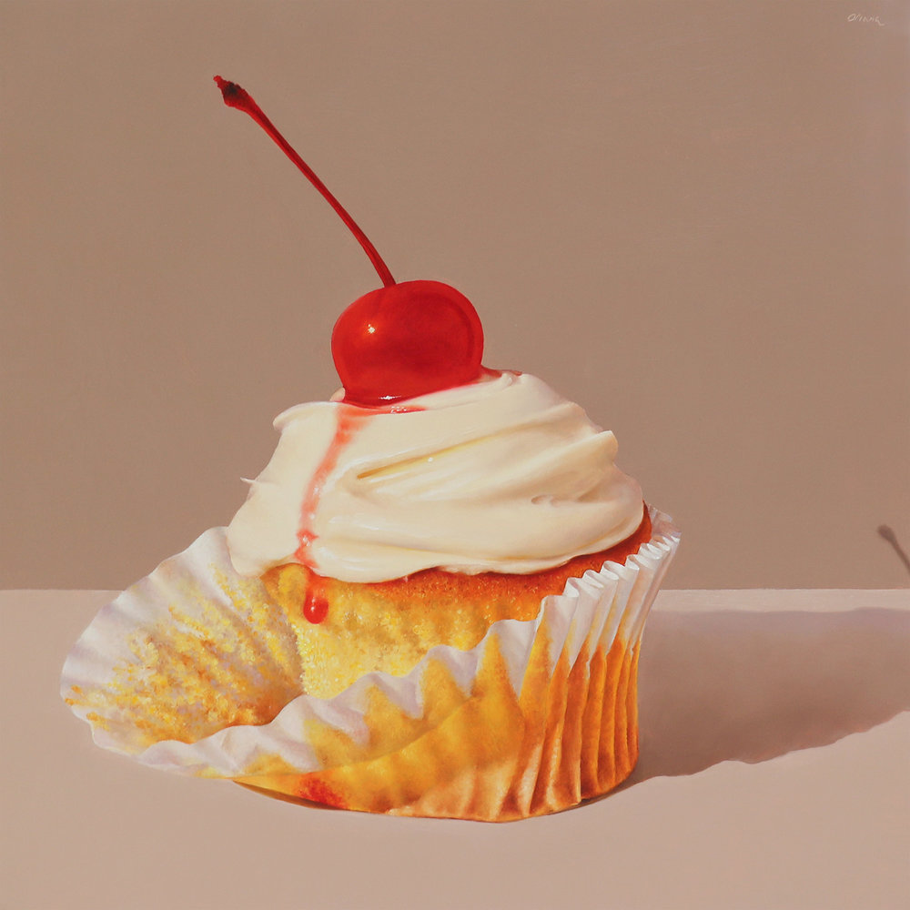 Cupcake with Maraschino Cherry  oil on panel / 12x12 inches  available for purchase at  Quidley & Company