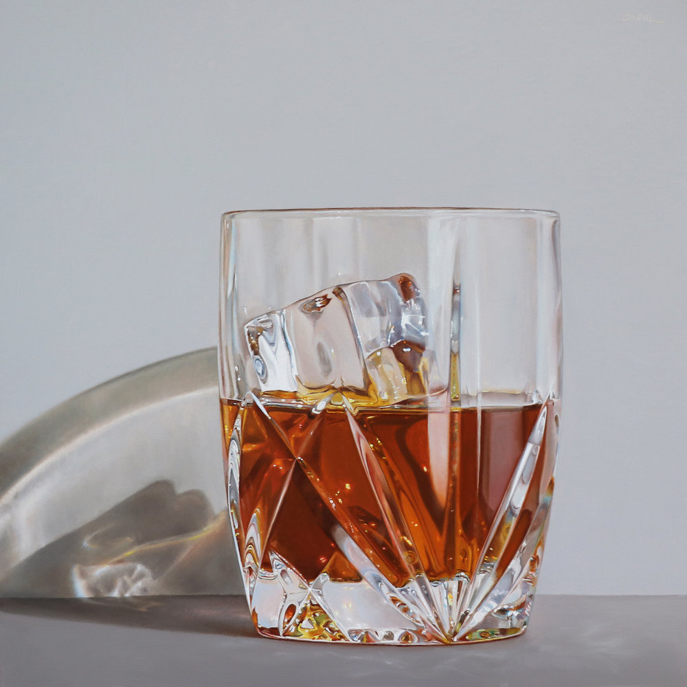 Scotch in Waterford Crystal  oil on linen / 8x8 inches  private collection