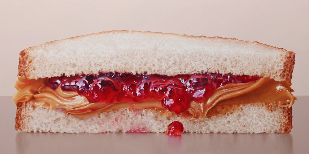 PB&J Half  oil on panel / 12 x 24 inches  available for purchase at  Quidley & Company