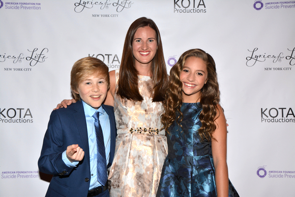 Director/Producer, Laura Luc, with co-host's Casey Simpson and Mackenzie Ziegler at Lyrics for Life in NYC on Sept 10, 2016