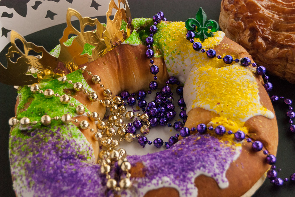 Colorful Mardi Gras King Cake