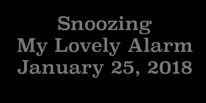 Jan 25 2018 - Snoozing My Lovely Alarm.jpg