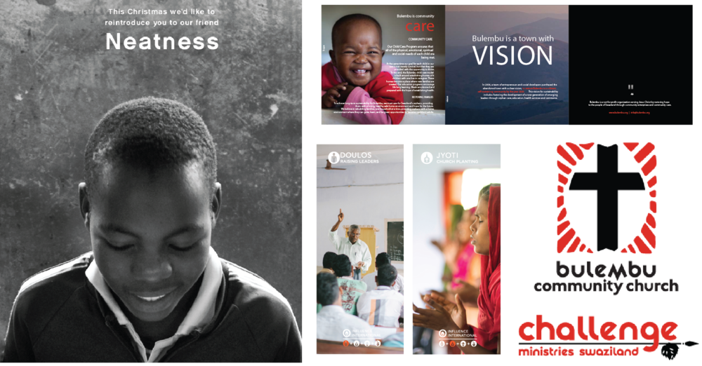LEFT: CHRISTMAS APPEAL - FORGOTTEN VOICES, TOP RIGHT: BROCHURE - BULEMBU MINISTRIES, BOTTOM LEFT: STAND-UP BANNERS - INFLUENCE INTERNATIONAL, BOTTOM RIGHT: LOGO OPTIONS - BULEMBU MINISTRIES