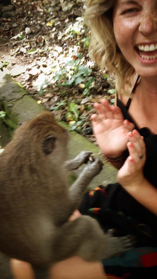 ALWAYS clean your hands after handling monkeys. Photo taken in Ubud, Bali.