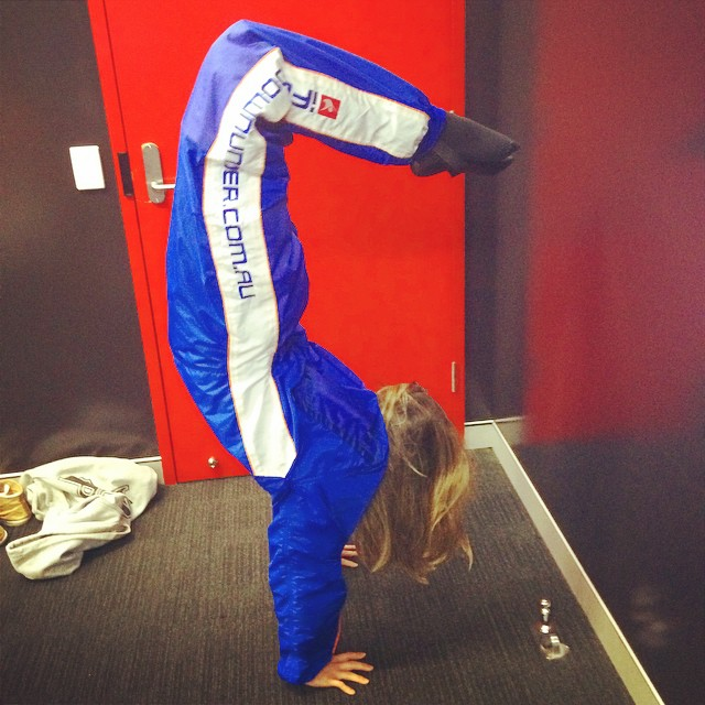 Pre-flight handstand!