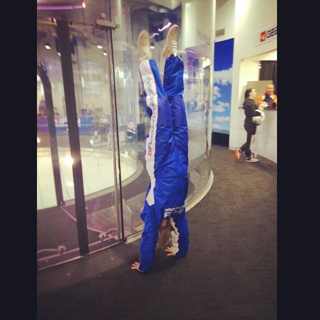 Post-flight handstand!