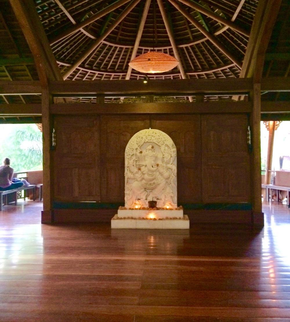 Ganesh altar @ front of room
