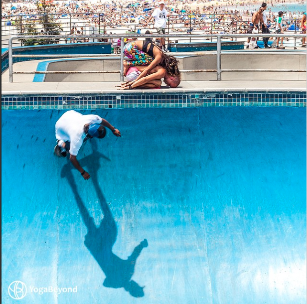 """""""Thought it would be a rather curious thing to take a moment in this grounding and calming pose in a place full of intense activity. Love the process of creating#YogaArtand challenging conventional thinking in the process. Needless to say, another great capture by@CreaCreaStudioat Bondi Beach Skatepark."""""""