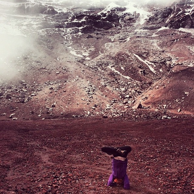 Featuring the adventurous @alyciala at the Chimborazo volcano in Ecuador. Thanks so much for the tag! We love to see all your amazing asanas all over this amazing planet! Namaste!! #yoga #travelingyogis #inspiredyogis #outdooryoga #circomnavigate #volcano #ecuador #headstand #inversions