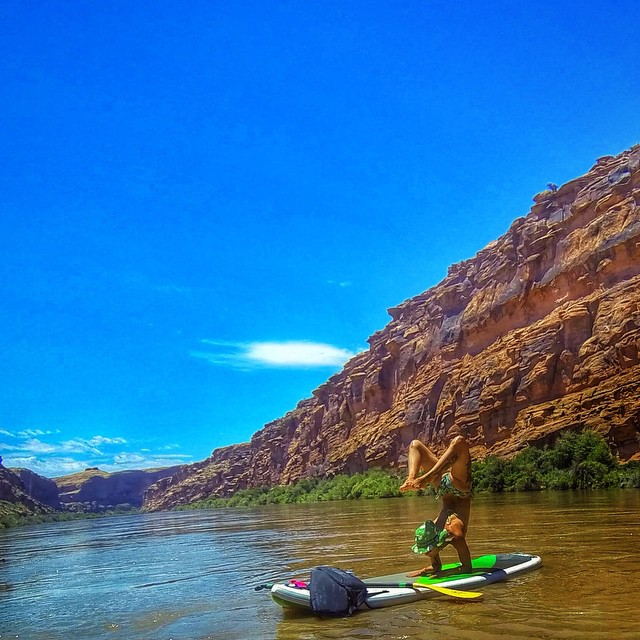 """Whether you've seen angels floating around your bedroom or just found a ray of hope at a lonely moment, choosing to believe that something unseen is caring for you can be a life-shifting exercise."" - Martha Beck  Co-Ambassador @liljillkuz checking in from Moab, Utah. I had the opportunity to float down the Colorado River on a paddle board yesterday. I've been wanting to do this for so long! I am completely hooked now! At first I was a little shaky, but after a mile or so I found my balance. There is nothing like the perspective of watching the muddy river flow by the gorgeous red rock cliff canyon, UPSIDE DOWN!! So full of gratitude for the opportunity, the perspective and the friendship of this experience. #yoga #supyoga #scorpion #circomnavigate #travelingyogis #travel #coloradoriver #moab #balancedyogis #outdoorwomen #outdoorbella #outdooryoga #gratitude #strength #balance #flexibility"