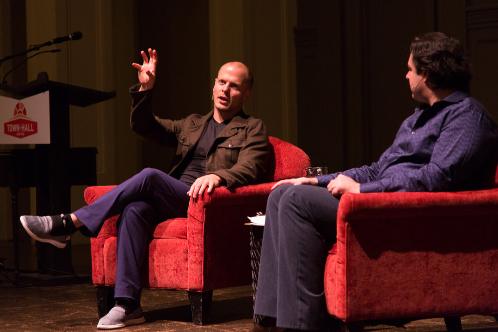 "Tim Ferriss interviewed by ""Modernist Cuisine"" co-author and chef Chris Young at Seattle's Town Hall on Friday, January 27th, 2017. Photo by Jeffrey Luke"