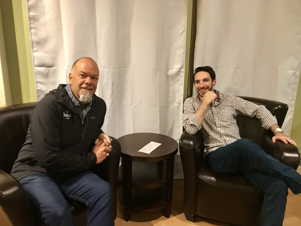 Woods Coffee founder, Wes Herman, sits with Skookum Kids Director, Ray Deck III, in the new Skookum Parents office in Bellingham, Wash., on Wed., Oct. 24, 2017. Since January 2017, Skookum Parents, Skookum Kids' private Child Placing Agency (CPA), has licensed 12 families and with about 11 families in the licensing process. They hope to have 200 families licensed by the end of 2020.