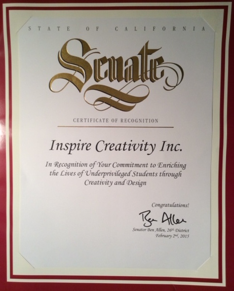 Certificate of Recognition from California State Senator Ben Allen