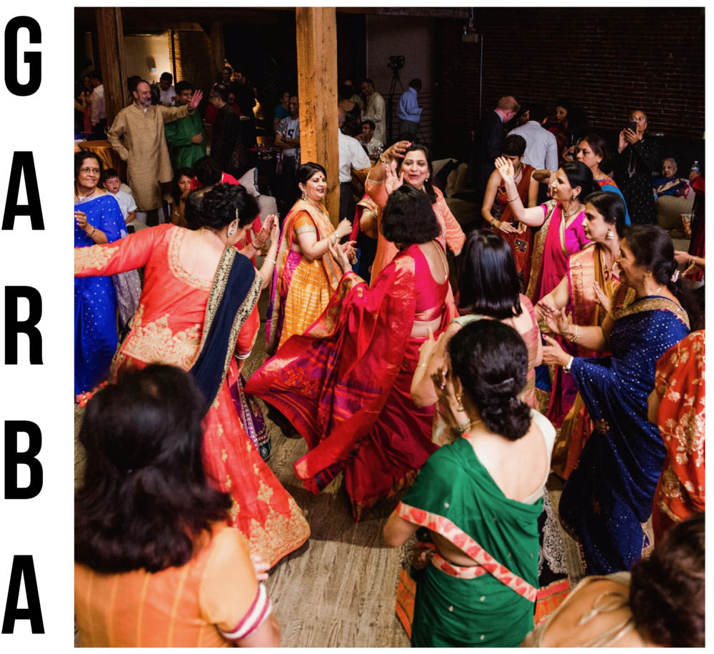 The Garba can be the  first  dance party of the wedding weekend. Garba is a sacred and festive dance tradition that originated in Gujarat, India. Garba gives everyone of all ages the opportunity to dance simple or complex moves together. VNY Entertainment is able to offer several options of Garba music. The VNY team also has the ability to host a pre-wedding Garba dance workshop so all your guests feel comfortable joining the dance floor when the Garba night comes around!                                 OPTIONS INCLUDE    -Live DJ with pre-determined Garba music    -Live DJ and Dhol Drummer with pre-determined Garba music    -Live traditional Garba Band