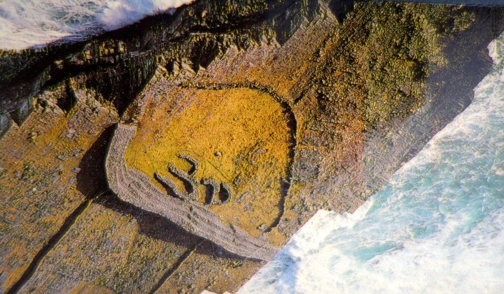 Dun Duchathair, Black Fort, The Aran islands, an Iron Age stone fort in the shape of the Omkara, the ancient Sanskrit symbol. The site has never been excavated so nothing is known of the people who built it.