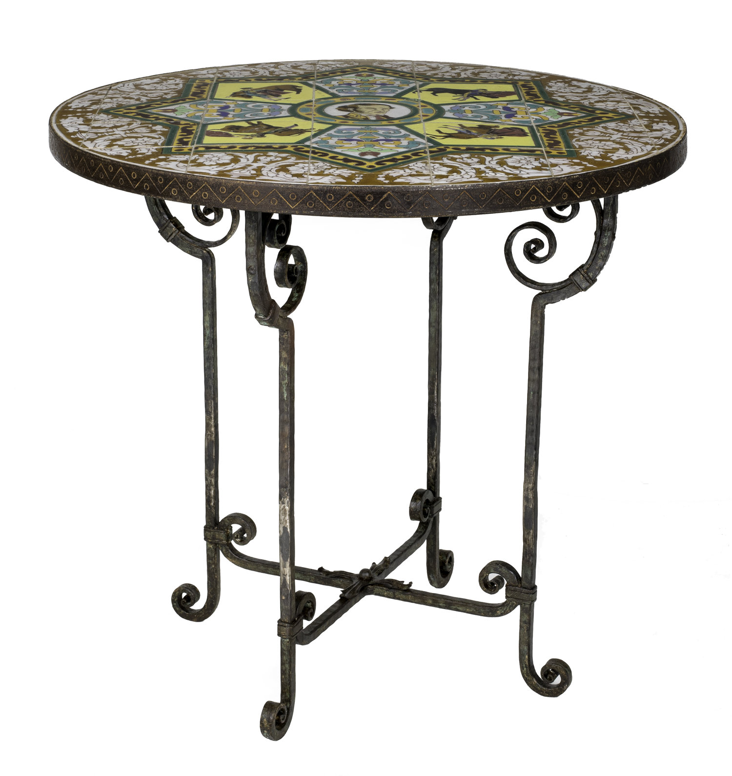 1930s Spanish Bullfighter Round Tiled Top and Iron Table — Grace
