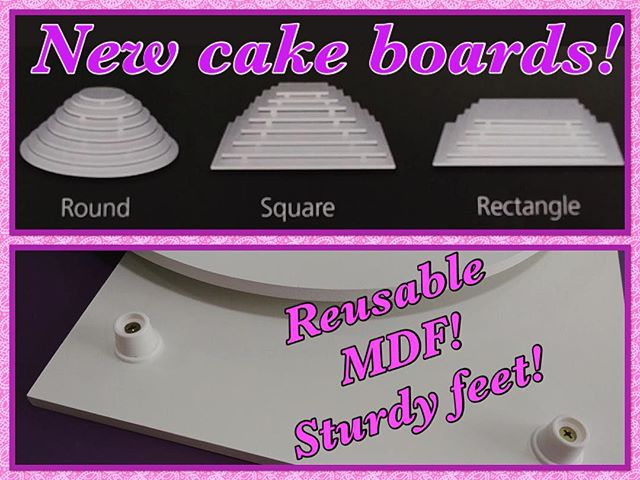 "NEW PRODUCT ALERT!!!! Introducing our new MDF Reusable cake boards! The sturdy legs raise board for easy lifting, dense MDF strength & durability, and they're a reusable and affordable option! We have 3 sizes available for the round option (11.8"", 13.7"", 15.7"") & 2 sizes available for the rectangular option (9.8 x 13.7"" (1/4 sheet), 13.7 x 17.7"" (1/2 sheet). Stop by and check them out!! 😉 #EastValleyCakeDecoratingSupply #CakeBoards #Reusable #Affordable"