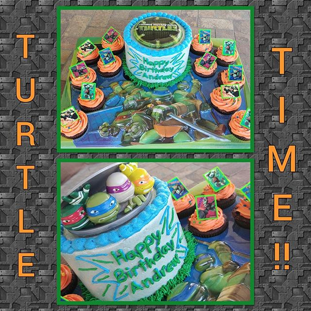 "ON CLEARANCE!! Was $14.99, now 65% off and only $5.25 get this Ninja Turtle display kit! As shown in top image, comes with serving tray that holds a 6"" cake and 12 cupcakes, plus 12 ring toppers, and flat plastic lay-on topper. Or you can purchase separately the ""Turtles to Action"" Decoset topper (at regular price) to upgrade the look (bottom image). #ninjaturtlecake #eastvalleycakedecoratingsupply #customcakes"