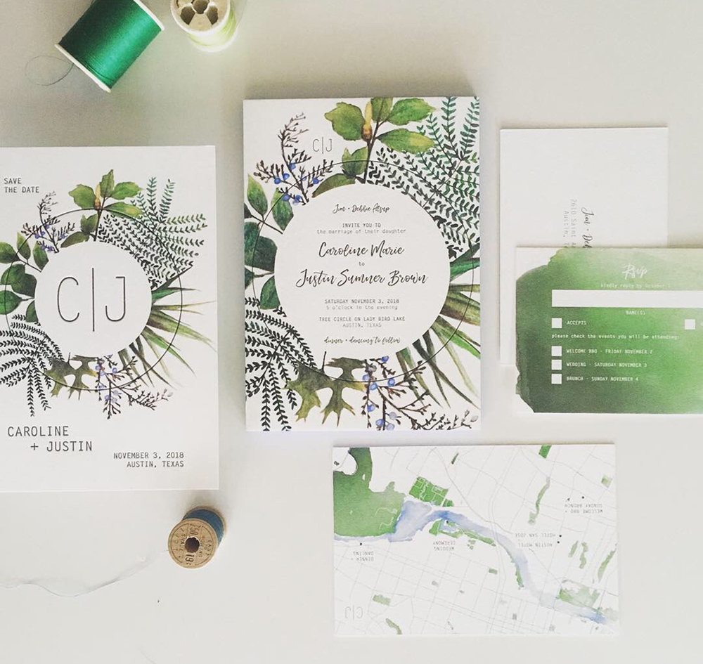 Watercolor paintings done by the bride paired with crisp charcoal type and ultra modern font.