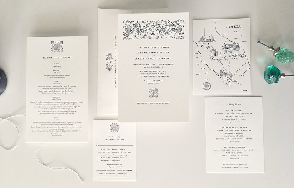 Lovely wedding in Perugia, with a hand drawn map and ornate Rococo inspired illustrations.