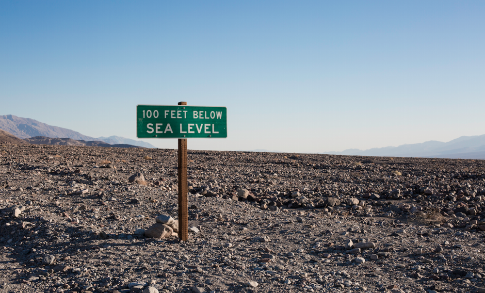Death Valley, and a sign that continues to make me cross eyed.