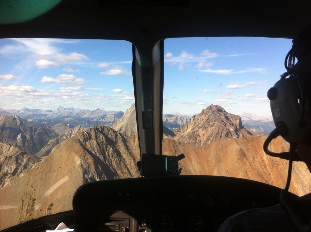 Flying through the southern Canadian Rockies. Twenty minutes of helicopter heaven... up and over Fischer Mountain.