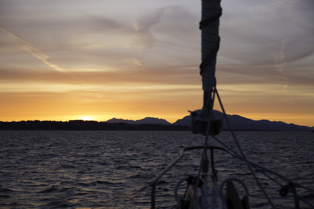 Cruising into the most colourful sunset of the trip. Quadra Island off the starboard bow.