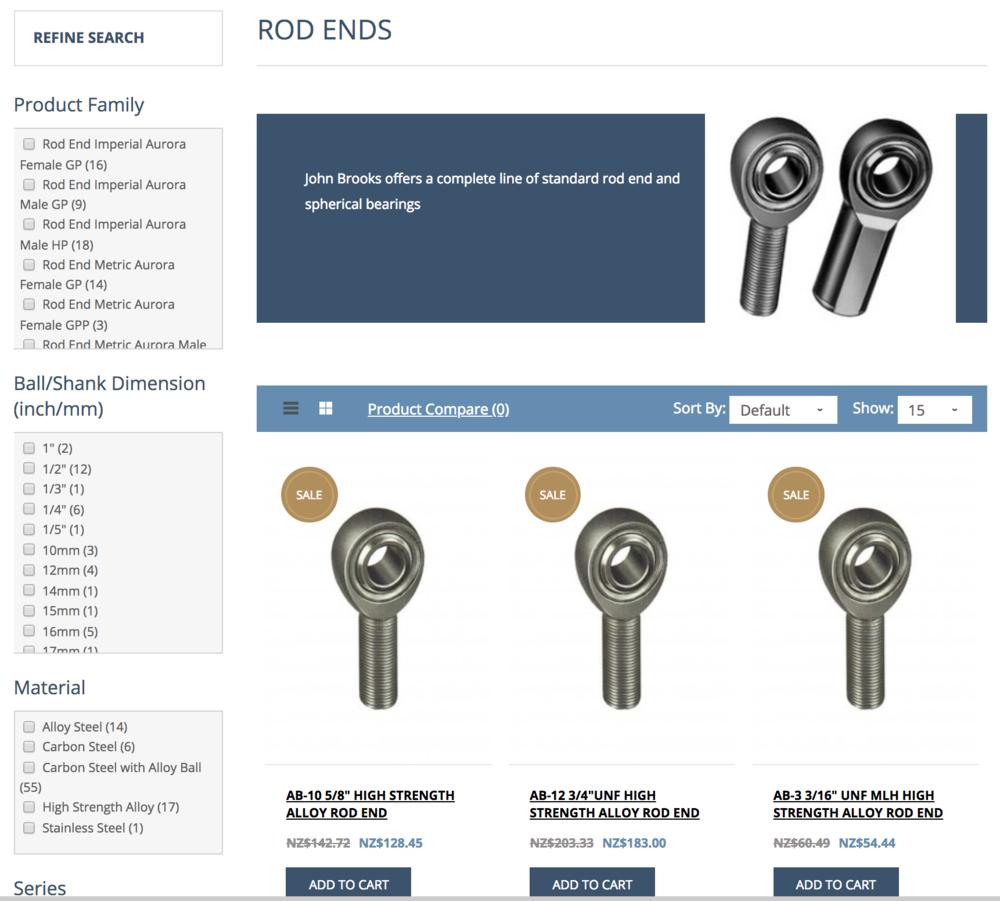 John Brooks Website - Rod Ends page