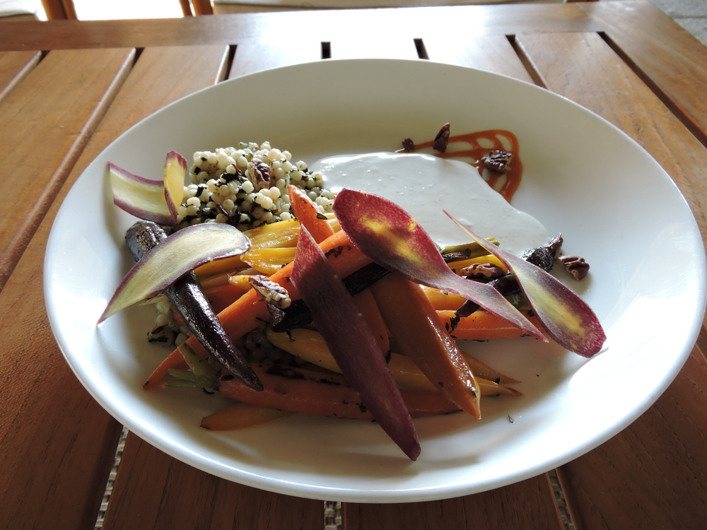 Thyme Roasted Baby Carrots - cous cous, sansho yogurt sauce, orange glaze