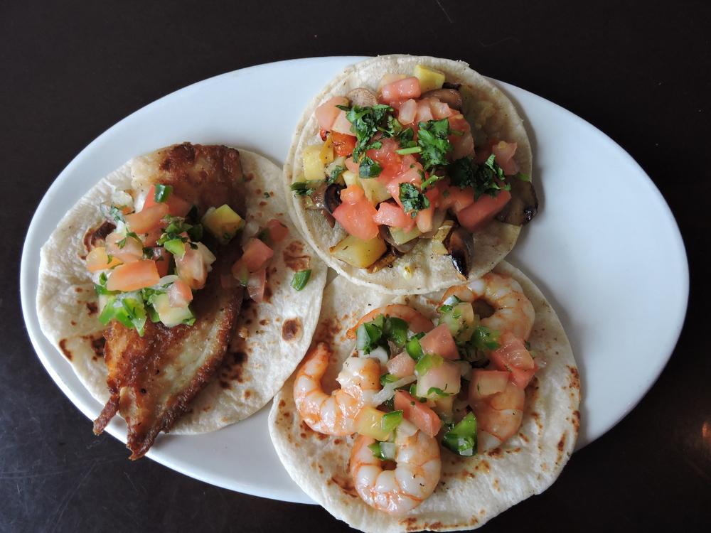 Pescado, Camaron and Veggie Taco