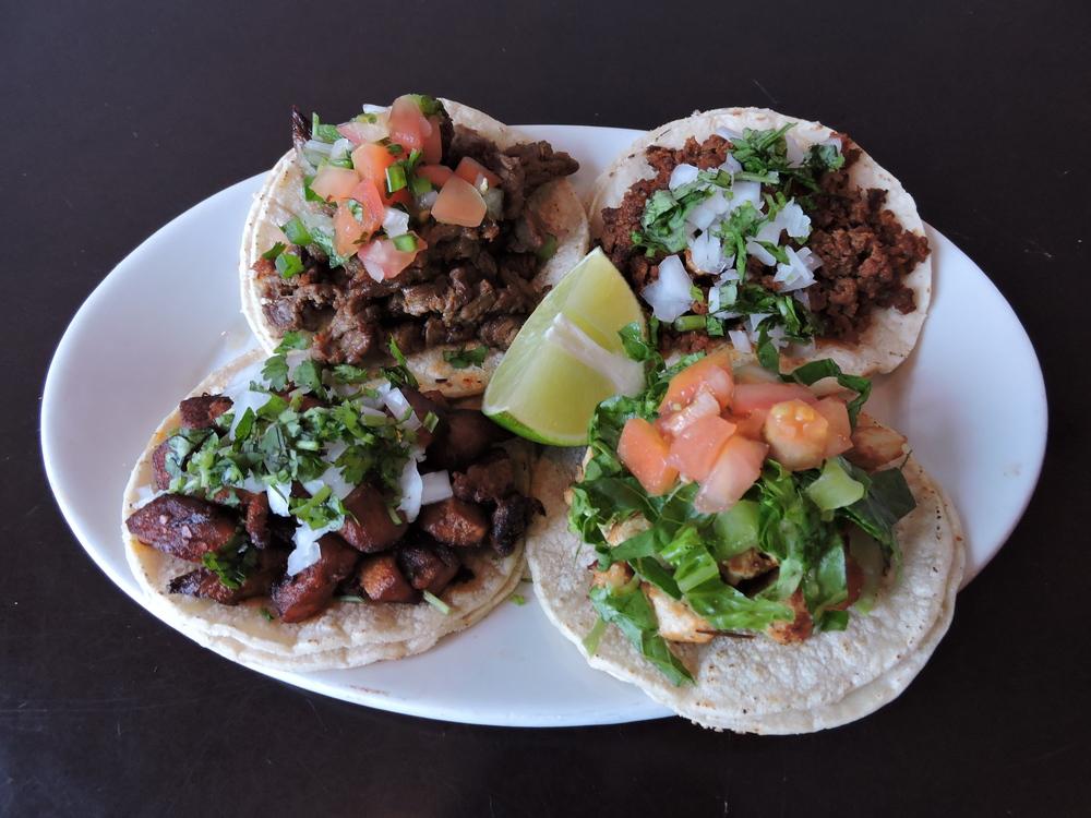 Carne Asada, Pollo Asada, Pollo Adobado and Puerco Adobado Tacos