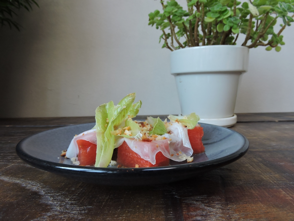Watermelon Salad- lardo & sherry viaigrette
