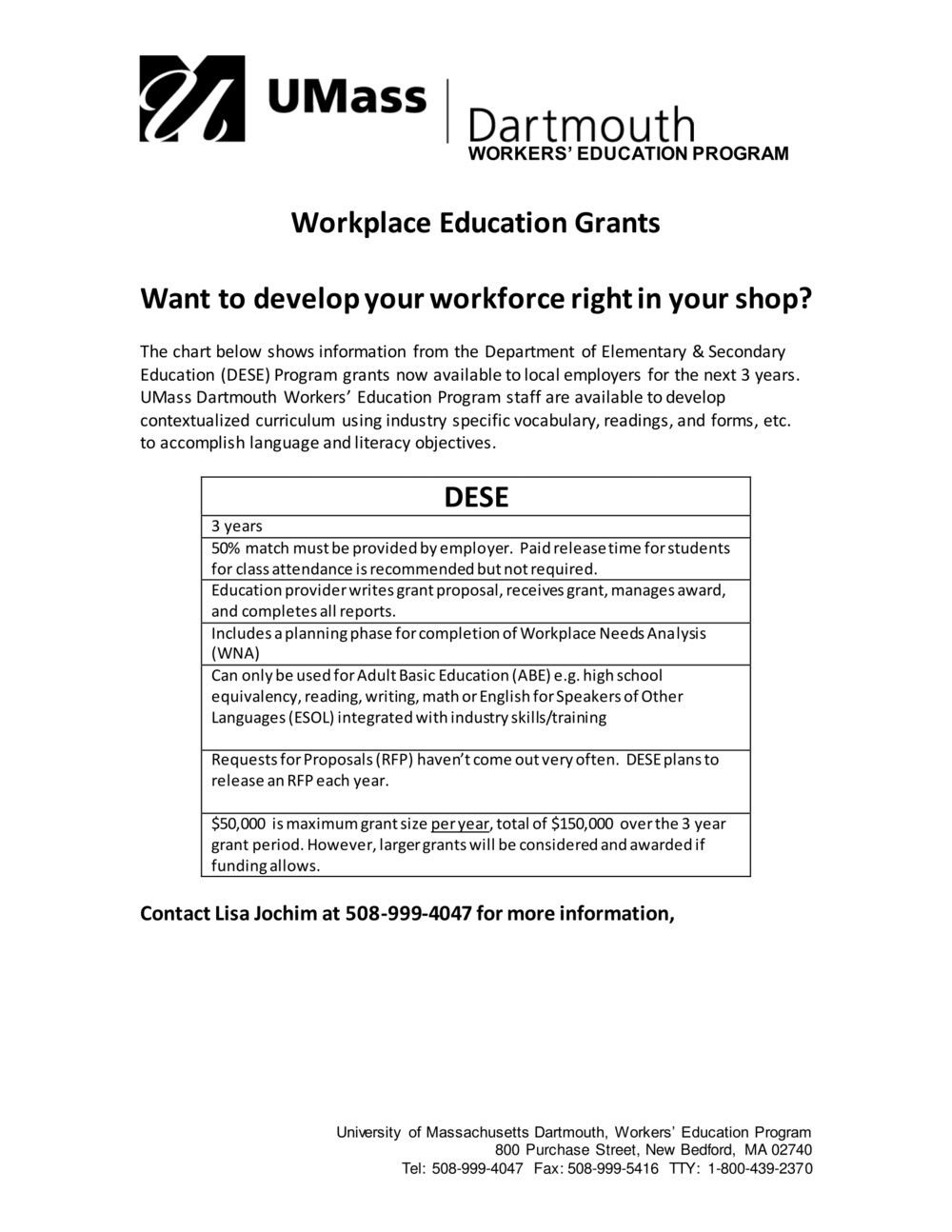 Click to view available Department of Elementary & Secondary Education Program grants!