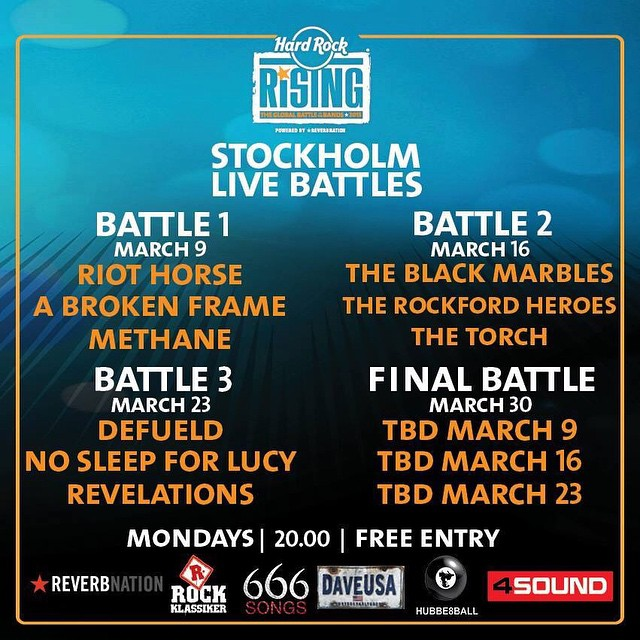 Schedule for the Hard Rock Rising live battles in Stockholm! #live #battle #metal #hardrockrising